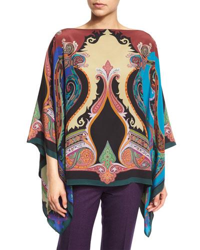 Paisley-Print Silk Poncho Top, Rust/Cobalt/Purple