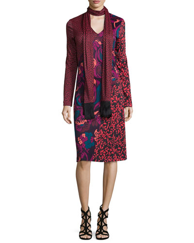 Long-Sleeve Printed Jersey Dress, Red/Multi