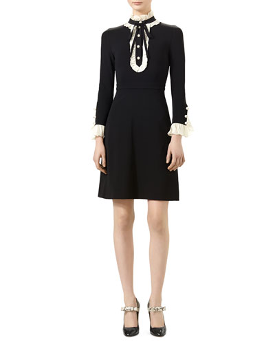 Long-Sleeve Jersey Dress, Black/White