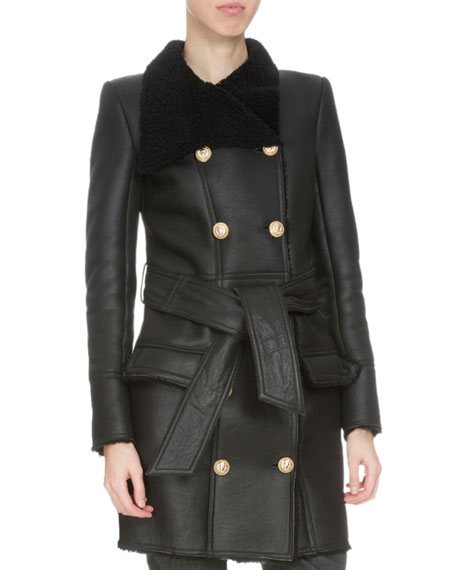 Leather Double-Breasted Coat w/Shearling Fur Lining, Black