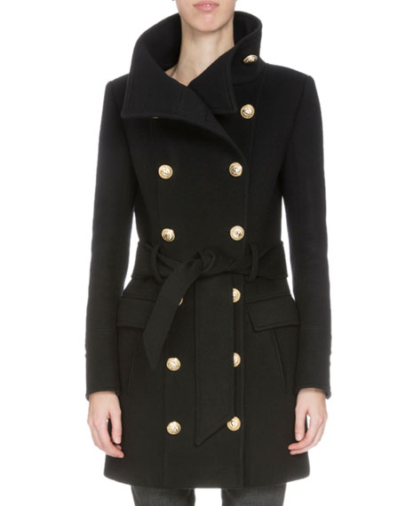 Doubled-Breasted Belted Wool-Blend Coat, Black