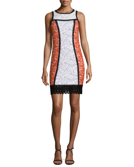 Sleeveless Colorblock Lace Shift Dress, Cream/Poppy