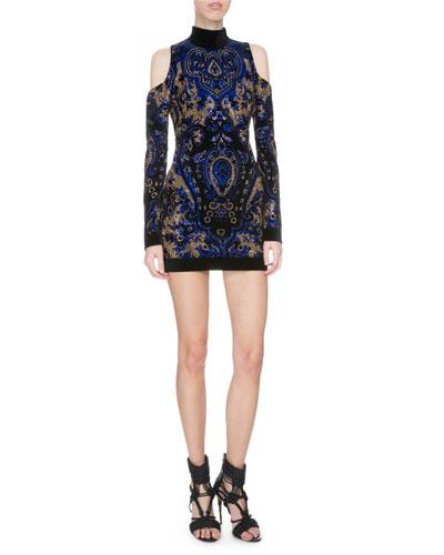 Studded Paisley Mock-Neck Cold-Shoulder Dress, Black/Blue