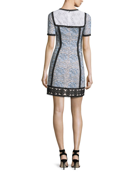 Short-Sleeve Colorblock Lace Dress, Blue