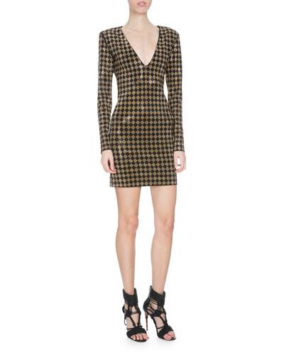 Long-Sleeve Sequined Checker-Print Dress, Black/Gold