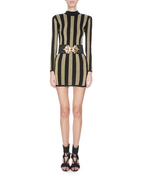 long striped dress - Black Balmain Alq2zr