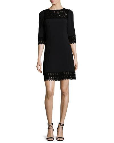 3/4-Sleeve Lace-Trim Dress, Black