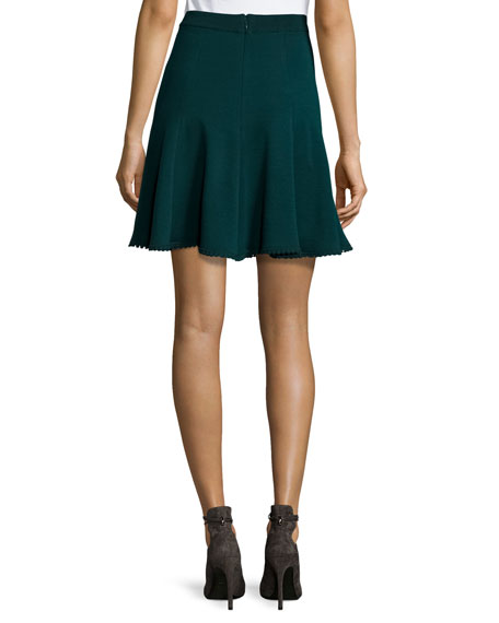 Flared Knit Skirt, Bottle Green