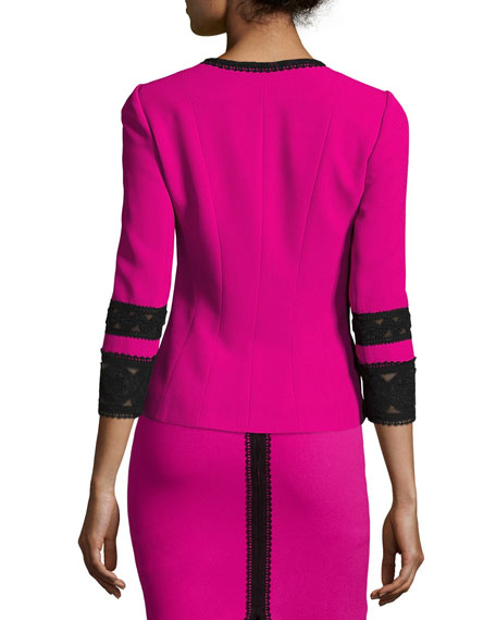 3/4-Sleeve Lace-Trim Fitted Crepe Jacket, Fuchsia