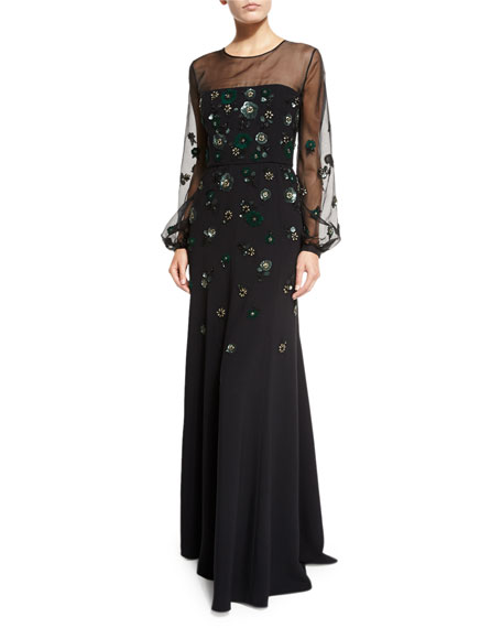 Long-Sleeve Embroidered Illusion Gown, Black