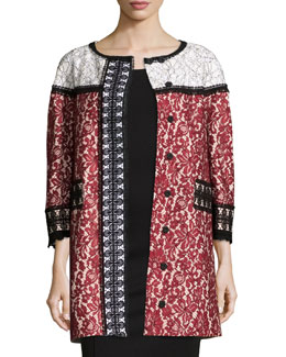 3/4-Sleeve Colorblock Lace Coat, Cherry