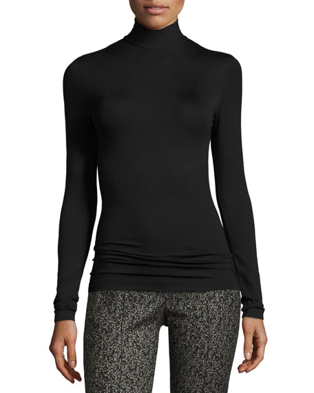 Modal Stretch Mock-Neck Sweater, Black