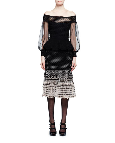 Off-the-Shoulder Degrade Peplum Dress, Black/Nude