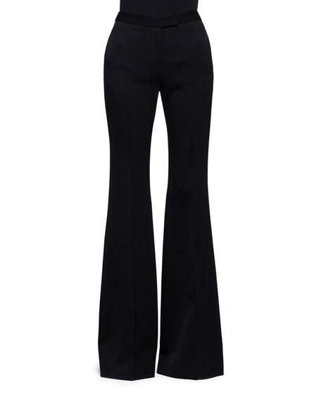 Flared Wool-Silk Pants, Black