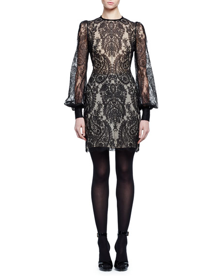 Long-Sleeve Baroque Lace Dress, Black