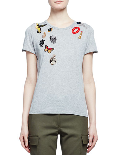 Obsession Short-Sleeve Embroidered Tee, Gray