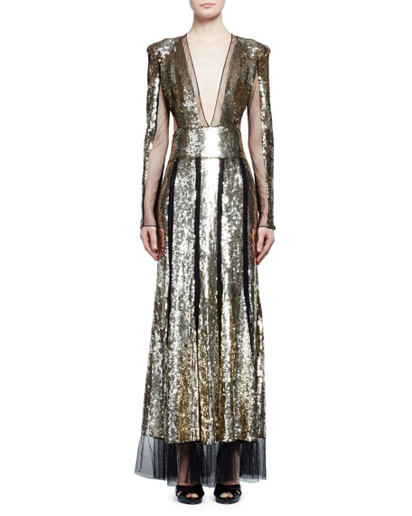 Alexander McQueen Sequined Long-Sleeve V-Neck Gown, Black