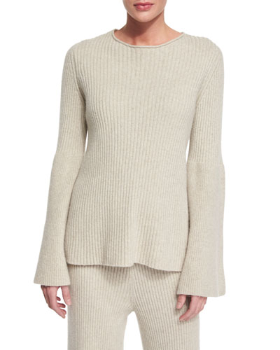 Ribbed Bell-Sleeve Cashmere Sweater