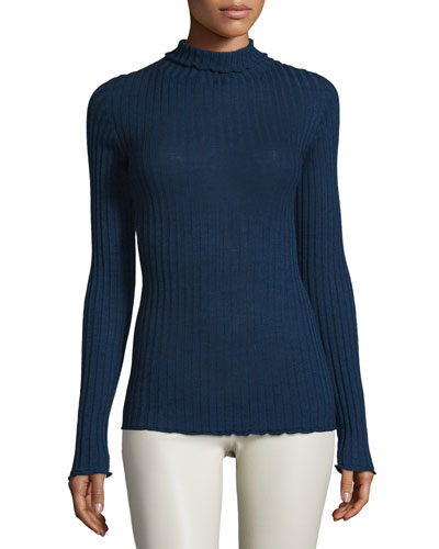 Long-Sleeve Ribbed Turtleneck Sweater, Marled Bright Blue