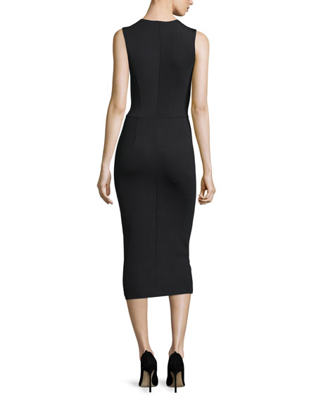 Sleeveless Scuba-Knit Dress, Black