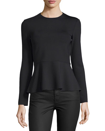 Long-Sleeve Scuba-Knit Peplum Top, Black