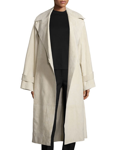 Belted Suede Oversized Trenchcoat, Ivory