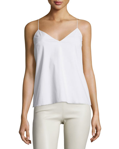 Stretch-Cotton Camisole Top, White