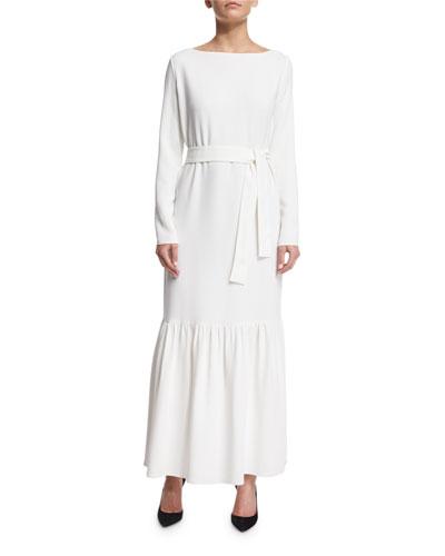 Long-Sleeve Belted Peplum Maxi Dress, Ivory