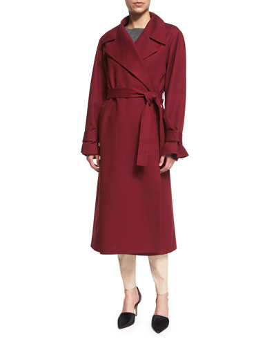Stretch-Woven Wrap-Front Trenchcoat, New Brick