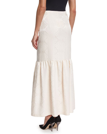 the row textured cloque peplum maxi skirt ivory