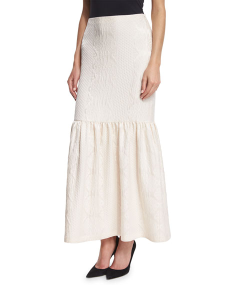 Textured Cloque Peplum Maxi Skirt, Ivory