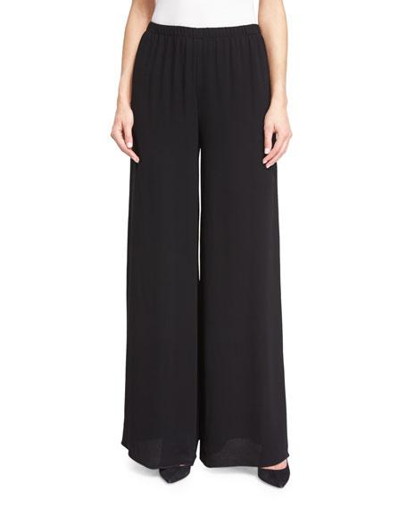 Wide-Leg Elastic-Waist Pants, Black