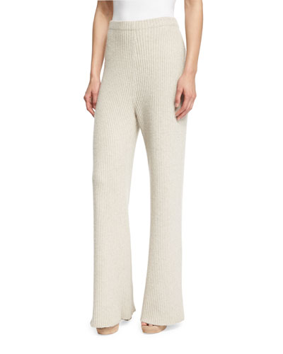 Ribbed Cashmere Pants, Smoky Pearl
