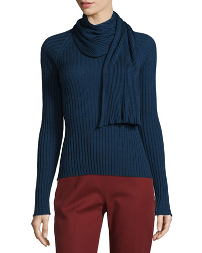 Inga Long-Sleeve Faux-Scarf Top, Marled Dark Chest