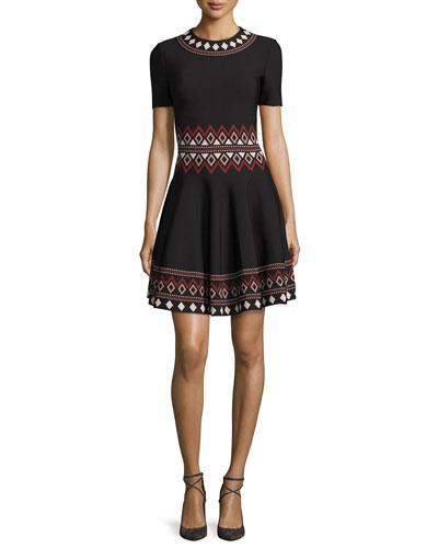 Short-Sleeve Flared Tribal-Knit Dress, Black/Multi