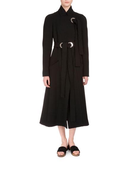 Proenza Schouler Wool A-Line Coat w/Grommet Ties, Black