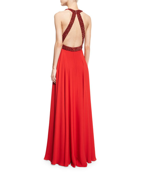 Halter-Neck Embellished-Trim Gown, Russian Red