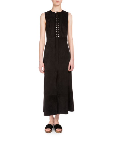 Sleeveless Lace-Up Suede Dress, Black