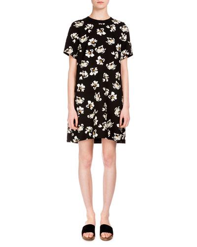 Short-Sleeve Floral-Print Dress, Black/Ecru
