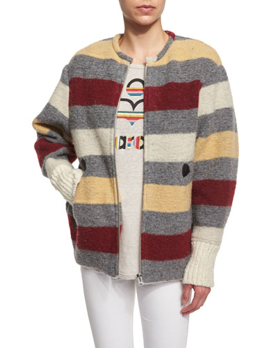 Fimo Striped Blanket Jacket, Gray