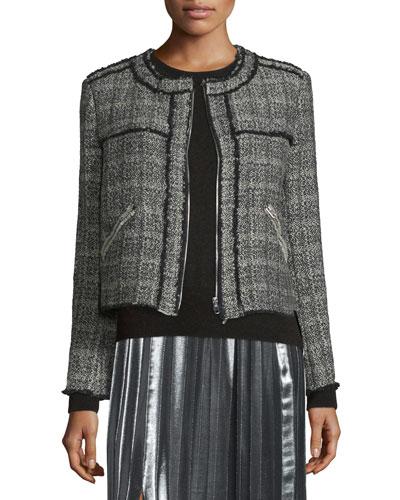 Laura Zip-Front Tweed Jacket, Black