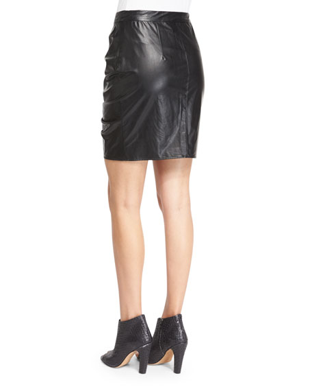 July Ruched Faux-Leather Skirt, Black