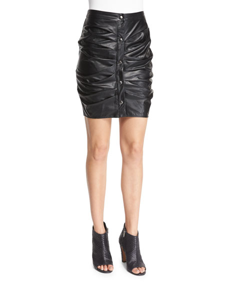 Etoile Isabel Marant July Ruched Faux-Leather Skirt, Black