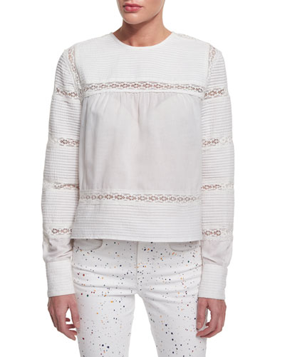 Rexton Long-Sleeve Lace-Striped Top, White