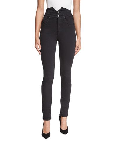 Earley Slim-Leg High-Waist Jeans, Black