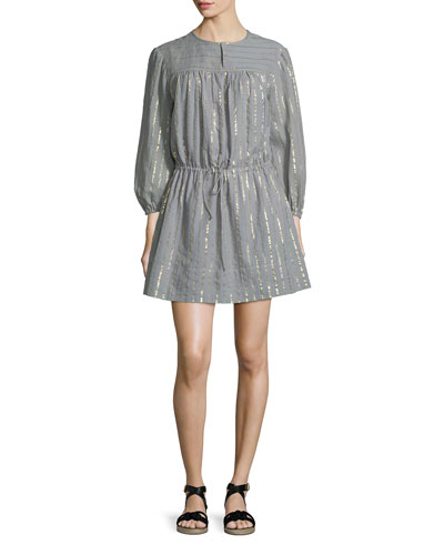 Salome Metallic Peasant Dress, Gray