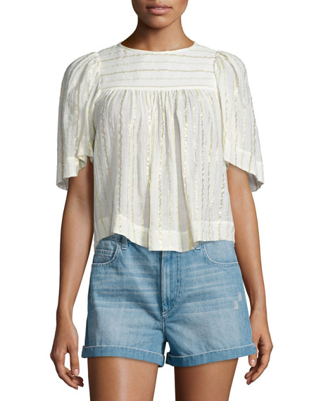 Sara Metallic-Striped Peasant Top, White