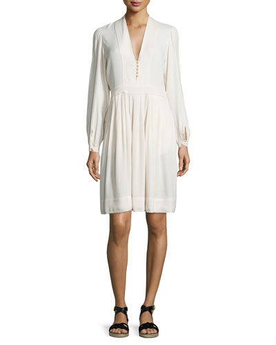 Neil Long-Sleeve Crepe Dress, Ivory