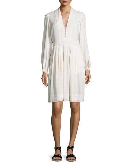 Neil Long-Sleeve Crepe Dress, Ivory