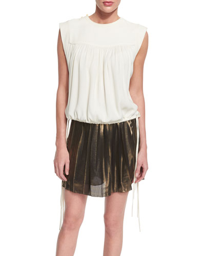 Neo Sleeveless Tassel-Tie Top, Ecru